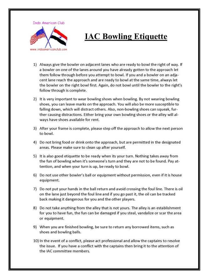Bowling Etiquette